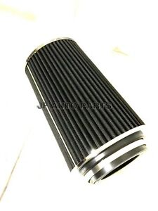 10 H Cold Short Ram Intake High Flow Cone Black Air Filter3 3 5 4 Reducer