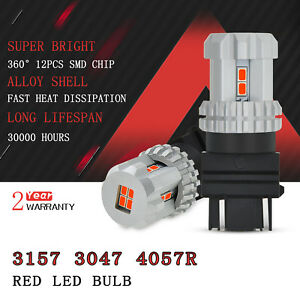 Auxito Red 3157 4057 3057r Led Brake Tail Light Bulb 12 Smd Lamp For Chevrolet