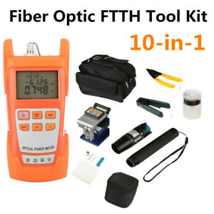 Fiber Optic Ftth Tool Kit With Fc 6s Cleaver Optical Power Meter Visual Finder