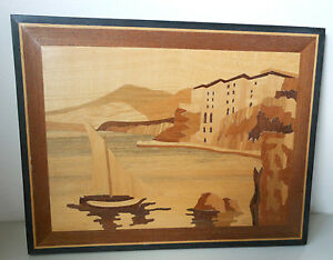Wood Inlay Marquetry Italian Tirrenia Italy By The Sons Seaside Scene