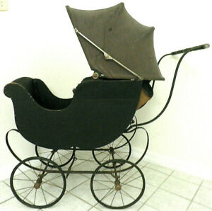 Heywood Wakefield Antique Baby Carriage Stroller Doll Buggy Wood Leather Canvas