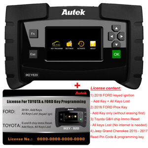 Autek Ikey820 Key Fob Programmer Tool With 2018 ford And Toyota G And H License