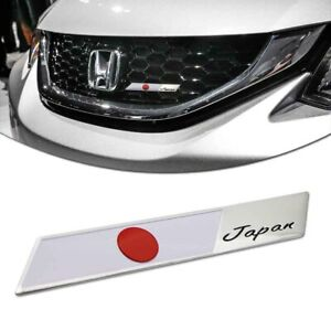 1x Aluminum Plate Badge Japanese Flag Emblem Design For Car Front Grille Sticker