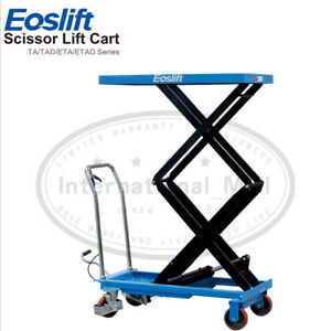 Dual Manual Hydraulic Scissors Lift Table Carts Foot Pump 770 Lb Max Load Blue