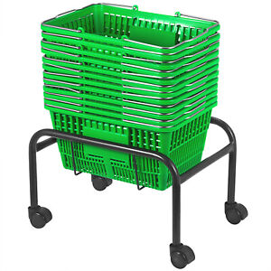Green Plastic Shopping Basket Pack Of 12 Green Convenience Store Plastic Great