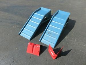 Vintage Pair Steel Car Light Truck Ramps With Wheel Chocks 6500 Lb Vgc