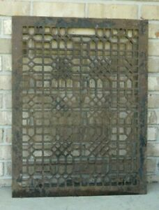 Huge 20x26 Ornate Victorian Cast Iron Heat Regester Grate