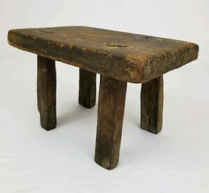 Primitive Wooden Milking Stool Footstool Mortise Legs Rustic Farm Decor Antique