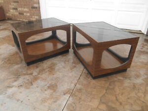 Pair Of 1960 S Mid Century Modern Lane Side Tables W Smoke Glass Top