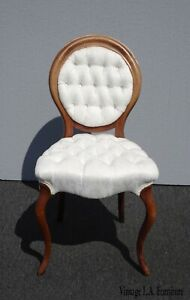 Vintage French Provincial White Tufted Accent Chair Or Vanity Chair