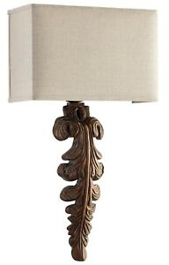 Vintage Style Foliage Iron Wood Wall Sconce Wall Light Fixture 27 5 H