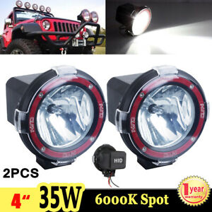 2x 4 35w 6000k Xenon Hid Work Light Spot Driving Atv Ute Offroad Tractor Lamp