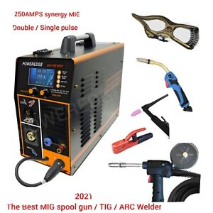Mig Fire Wire Aluminum single double Pulse 250amps Spool Gun line Feed tig 3in1