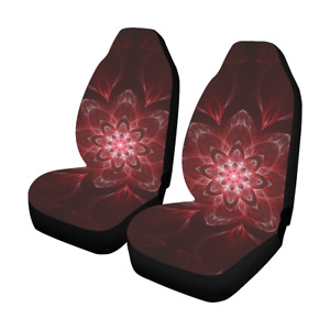Front Car Seat Covers Red Mandala Fabric Protector Cases For Sedan Truck Suv Van
