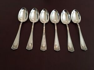 1914 International Silver Co Devonshire Serving Spoon Sterling Greek Key Design