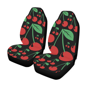 Front Car Seat Covers Red Cherry Fabric Protector Cases For Sedan Truck Suv Van