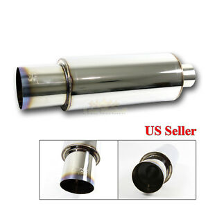 For Euro Car 1x N1 Style Throaty Sport Chrome Exhaust Muffler True Burnt Tip