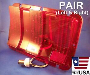 Pair 1968 Mustang Sequential Led Brake Tail Lights With Flasher Lenses 68