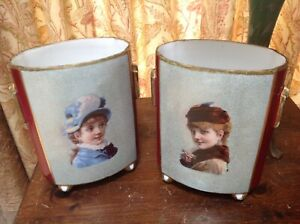 Pair Large Antique Old Paris Porcelain Portrait Vase Footed