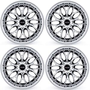 17x7 5 Kudo Racing Revolution 4x100 4x114 3 Black Polish Face Wheels Rims Set 4