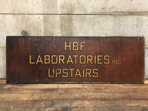 Antique Hbf Laboratories Inc Upstairs Painted Wood Sign Science La