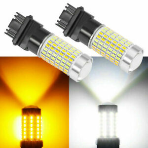 Pair 3157 4157na Led Switchback White Yellow Turn Signal Light Bulbs