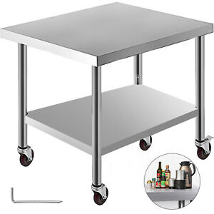 30 x36 Kitchen Work Table With Wheels Non magnetic Stainless Steel Restaurant