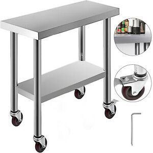 30 x12 Kitchen Work Table With Wheels Stainless Steel Janitorial Room Rolling