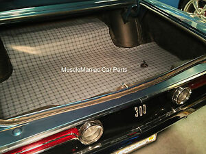 1968 Chrysler 300 Convertible Rubber Trunk Mat Gray Plaid 68