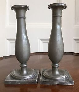A Pair Of Early Austrian Pewter Candlesticks C 1790 1830 20 5cm