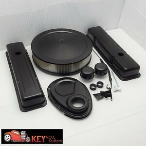 Small Block Chevy Black Engine Dress Up Kit Short Valve Covers Air Cleaner 350
