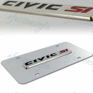 Authentic Honda Civic Si Front 3d Mirror Stainless Steel License Plate Frame
