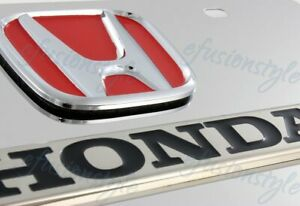 Authentic 3d Honda Logo Front Mirror Stainless Steel License Plate Frame Red