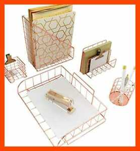 Office Supplies Rose Gold Desk Accessories For Women 5 Pc Wire Organizer Set L