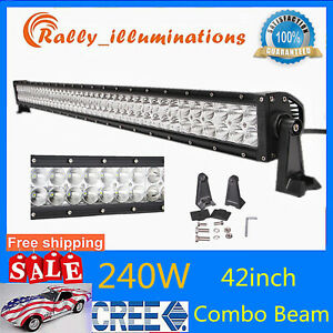 42 240w Led Light Bar Spot Flood Combo Driving Tractor Suv Offroad 4d Opticals
