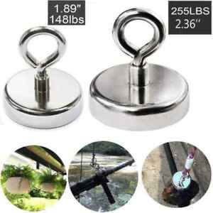 Fishing Magnet 255 Lb Super Strong Neodymium Thick Round Eyebolt Treasure Hunt