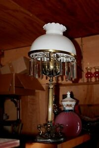 Antique Bradley Hubbard Lion Footed Crystal Prism Table Oil Lamp Converted