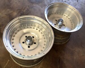 Ford Mopar Centerline Vintage Autodrag Wheels Caps Rims 15x10 Pair Race J15788