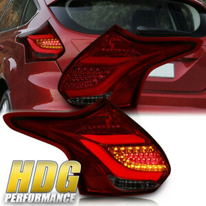 For 2012 2014 Ford Focus Hatchback Led Rear Tail Light Pair Red Smoke Lens Lamps