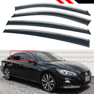 For 2019 Nissan Altima Chrome Trim Clip on Window Visor Rain Guard Deflector