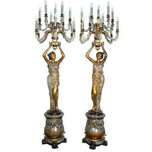 Set 2 Bronze Art Deco Figural Woman Ladies Lamps Candelabras On Stand 95 H