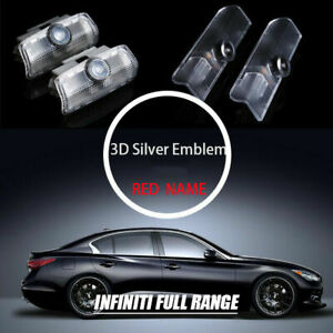 2x 3d Logo Badge Emblem Courtesy Shadow Door Step Light For Infiniti 04 18 Short