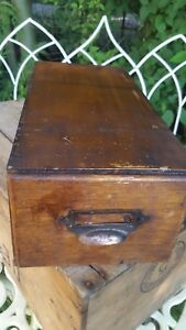 Old British Wooden Drawer Index Card Holder Copper Pull Filing Cabinet Office