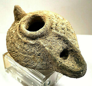 Ancient Oil Lamp Holly Land Middle East As Found Encrusted Decorated Older