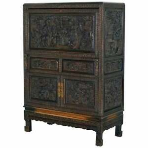 Stunning Heavily Carved Antique Chinese Cabinet Cupboard With Drop Front Desk