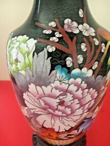 Antique Vintage Large Tall Chinese Cloisonne Flower Vase 12 Tall