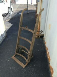 Vintage Antique Freight Hand Truck Wood And Iron Dolly Fully Functional