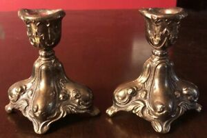 Vintage Ornate Beautiful Design Gold Metal Candlestick Candle Holders Hollywood
