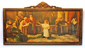 Print Of Boy Jesus In Temple In Antique Victorian Frame
