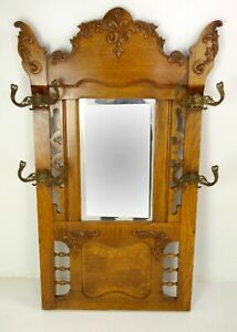 Antique Hall Mirror Mirrored Rack With Hooks Entryway Furniture Usa 1900 B1502